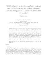 Nghiên cứu quy trình công nghệ tách chiết và tinh chế Mangostin trong vỏ quả măng cụt Garcinia Mangostnan L. làm thuốc hỗ trợ điều trị ung thư