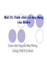 Bài 31   Tính chất và ứng dụng của hidro