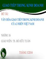 slide thuyết trình văn hóa GIAO TIẾP TRONG KINH DOANH của 3 MIỀN VIỆT NAM