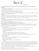 Đáp án các câu hỏi Địa lý 12 học kì II