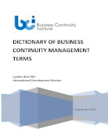 Tiếng Anh Dictionary Dictionary of Business Continuity Management Terms