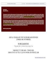 Useful vocabulary for the resume and interview 英文简历及面试有用词汇 danh mục từ vựng anh – trung (hoa) dành để viết sơ yếu lý lịch và phỏng vấn tìm việc làm