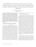 Identification of environment and socio economic impact factors for wind resource land mapping using ArcGIS, WaSP and multi crit