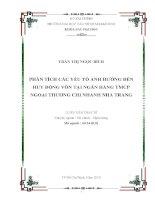 Phân tích các yếu tố ảnh hưởng đến huy động vốn tại ngân hàng TMCP ngoại thương chi nhánh nha trang