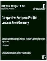 Rethinking transport appraisal   comparative european practice