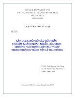 XÂY DỰNG MỘT SỐ CÂU HỎI TRẮC NGHIỆM KHÁCH QUAN NHIỀU LỰA CHỌN CHƯƠNG CÁC ĐỊNH LUẬT BẢO TOÀN TRONG TRƯƠNG TRÌNH VẬT LÍ ĐẠI CƯƠNG