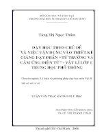 """DẠY HỌC THEO CHỦ ĐỀ VÀ VIỆC VẬN DỤNG VÀO THIẾT KẾ GIẢNG DẠY PHẦN """"TỪ TRƯỜNG VÀ CẢM ỨNG ĐIỆN TỪ"""" - VẬT LÍ LỚP 11 TRUNG HỌC PHỔ THÔNG"""