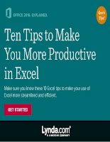 Ten tips to make you more productive in excel