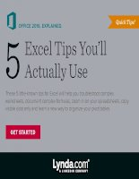 Five excel tips you will actually use