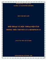 đối thoại và độc thoại nội tâm trong tiểu thuyết của hemingway