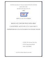 khảo sát thành phần hóa học cao ethyl acetate của loài địa y parmotrema planatilobatum (hale) hale