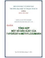 Tổng hợp một số dẫn xuất 7  hydroxy 4 methylcoumarin