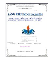 skkn LỒNG GHÉP GIÁO dục GIỚI TÍNH vào CHƯƠNG TRÌNH SINH học 11 – cơ bản