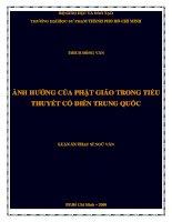 ảnh hưởng của phật giáo trong tiểu thuyết cổ điển trung quốc