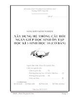 skkn xây DỰNG hệ THỐNG câu hỏi NGẮN GIÚP học SINH ôn tập học kì 1 SINH học 10 (cơ bản)