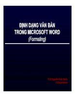 Bài giảng định dạng văn bản trong microsoft word (formating)   ths  nguyễn khắc quốc