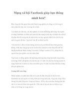 Mạng xã hội facebook giúp bạn thông minh hơn