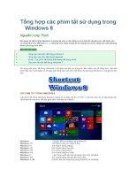 Tổng hợp các phím tắt sử dụng trong windows 8