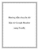 Hướng dẫn chuyển dữ liệu từ google reader sang feedly