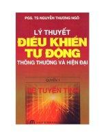 Ebook lý thuyết điều khiển tự động thông thường và hiện đại   quyển 1  phần 1   PGS TS  nguyễn thương ngô