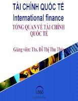 Bài giảng tài chính quốc tế  chương 1   ths  đỗ thị thu thủy