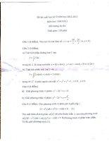 Đề thi học kì môn giải tích 2