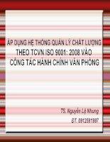 Bài giảng áp dụng HTQLCL theo TCVN ISO 9001  2008 vào công tác hành chính văn phòng   TS  nguyễn lệ nhung