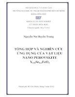 Tổng hợp và nghiên cứu ứng dụng của vật liệu nano perovskite y0 8sr0 2feo3