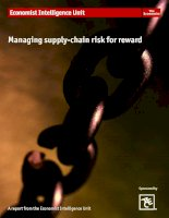 Managing supply chain risk for reward how businesses are responding to supply chain risk