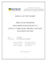 Phân tích tình hình hoạt động kinh doanh tại c ty TNHH thương mại   dịch vụ trường thái hòa giai đoạn 2012   2014