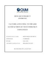 Factors affecting to the job satisfaction of vietcombanks employees