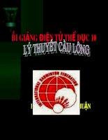 Bài giảng Thể dục 10: Lý thuyết cầu lông  Chu Đức Thuận
