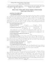 Báo cáo Tổng kết hoạt động công đoàn năm học 2010 2011