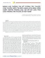 Đánh giá thông tin về tương tác thuốc của thuốc điều trị rối loạn lipid máu dẫn chất statin trong các cơ sở dữ liệu tra cứu thông tin thuốc ở việt nam