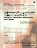 Nghiên cứu đặc điểm vi học, thành phần hóa học và tác dụng giải lo âu của hai loài mimosa (mimosa pudica l  và mimosa diplotricha c  wright ex SA  mimosaceae