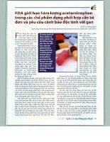 FDA giới hạn hàm lượng acetaminophen trong các chế phẩm dạng phối hợp cần kê đơn và yêu cầu cảnh báo độc tính với gan (bài dịch)