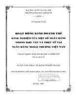 Hoạt động kinh doanh thẻ  kinh nghiệm của một số ngân hàng trong khu vực và thực tế tại ngân hàng ngoại thương việt nam   luận văn ths  kinh tế   60 31 07 pdf