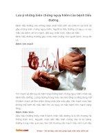 Lưu ý những biến chứng nguy hiểm của bệnh tiểu đường