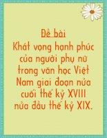 Nghi luan ve khat vong nguoi phu nu VN trong VHTD