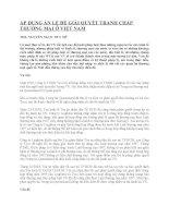 ÁP DỤNG ÁN LỆ ĐỂ GIẢI QUYẾT TRANH CHẤP THƯƠNG MẠI Ở VIỆT NAM