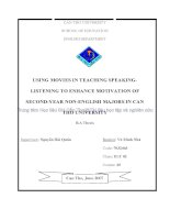 using movies in teaching speaking listening to enhance motivation of secondyear nonenglish majors in can tho university