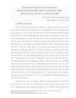 ĐỀ tài TÍCH hợp GIÁO dục kỹ NĂNG SỐNG TRONG dạy học môn NGỮ văn TRƯỜNG THPT NHẰM NÂNG CAO CHẤT LƯỢNG bộ môn