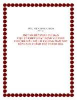 skkn-Một số biện pháp chỉ đạo việc tổ chức hoạt động vui chơi cho trẻ mẫu giáo