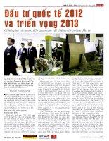 Đầu tư quốc tế 2012 và triển vọng 2013