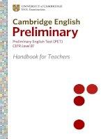Cambridge English Preliminary Pet Handbook for Teachers