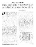 Nâng cao vai trò nhà đầu tư chuyên nghiệp của các công ty bảo hiểm trên thị trường chứng khoán việt nam