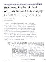 Thực trạng truyền tải chính sách tiền tệ qua kênh tín dụng tại việt nam trong năm 2012