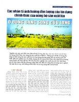 Các nhân tố ảnh hưởng đến lượng cầu tín dụng chính thức của nông hộ sản xuất lúa ở đồng bằng sông cửu long