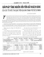 Giải pháp tăng nguồn vốn tiền gửi khách hàng của các tổ chức tín dụng trên địa bàn thành phố hồ chí minh