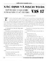 Xác định và hạch toán thuế thu nhập doanh nghiệp hoãn lại trên cơ sở vận dụng VAS 17